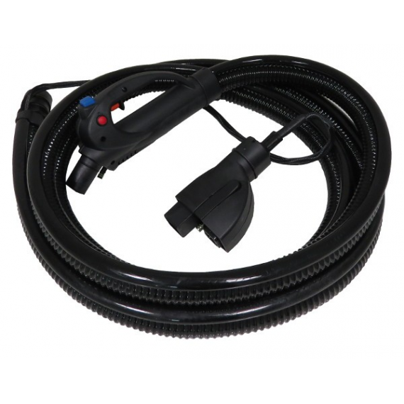 Steam and vacuum flexible hose for interior car cleaning